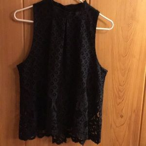 Black top overlayed with lace